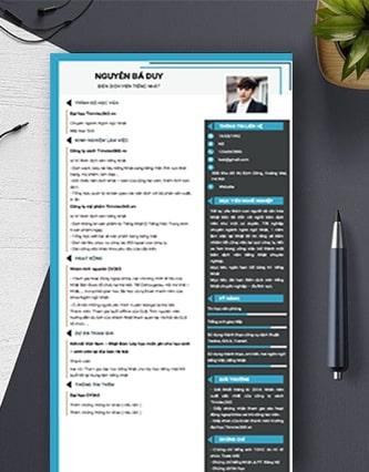 Tổng hợp mẫu CV biên phiên dịch mới nhất 2021