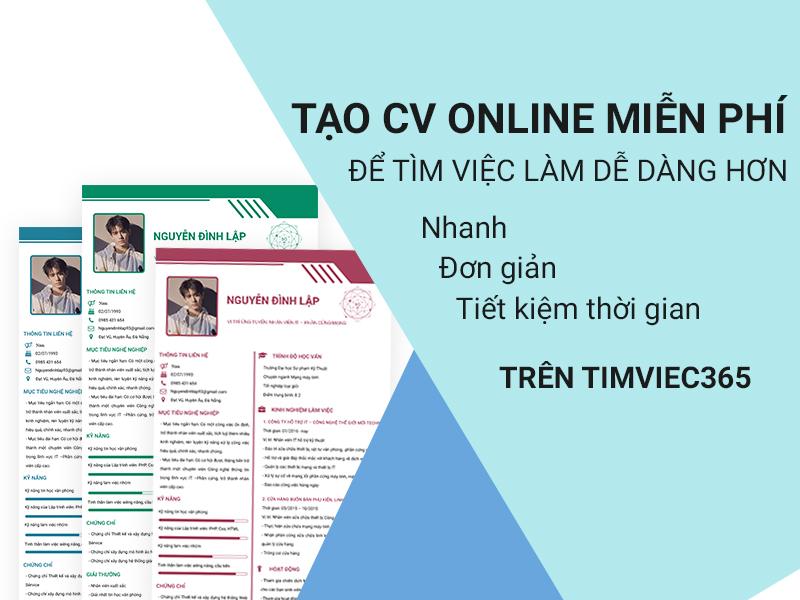 Tạo CV chuyên nghiệp cùng timviec365.vn